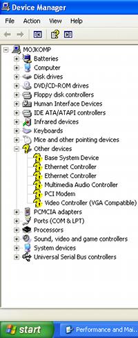 device manager i drajveri koji fale