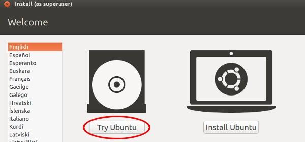 Linux Ubuntu odabir opcija