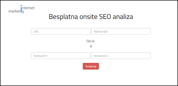 Besplatan alat za onsite SEO analizu